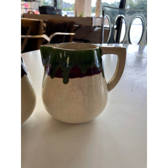 Mid-Century Modern Vintage 1956 Sugar and Cream Drip Pottery Set - Set of 2 For Sale - Image 3 of 5