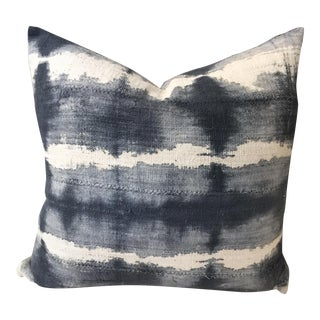 Gray, Blue And White Mud Cloth Pillow