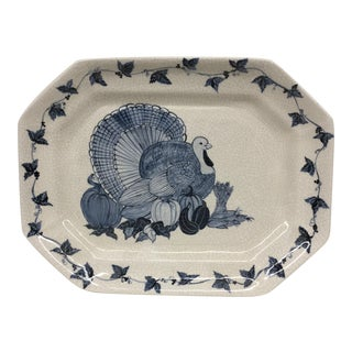 Hand Painted Turkey Serving Platter For Sale