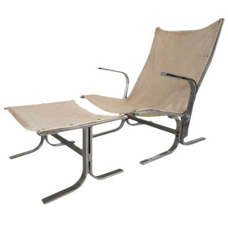 Mid-Century Modern Ingmar Relling Style Sling Lounge Chair and Ottoman For Sale