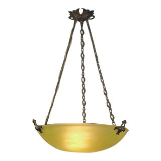 1910s French Green-Yellow Glass Lighting Bowl With Hardware For Sale