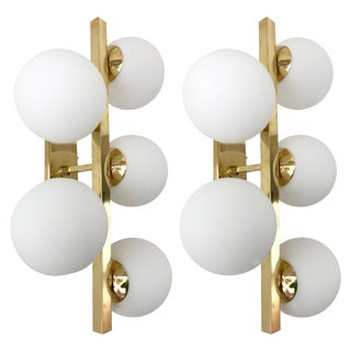 Contemporary Brass Sconces Opaline Glass Ball, Italy For Sale