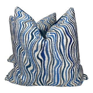 """Blue/Gray Embroidered 22""""Pillows-A Pair For Sale"""
