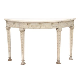 Italian Painted 19th Century Demilune with Carrara Marble Top