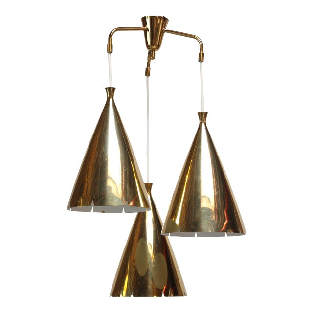 Mid-Century Three Pendant Solid Brass Chandelier For Sale