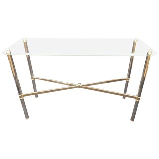 Mid-Century Chrome and Glass Console For Sale