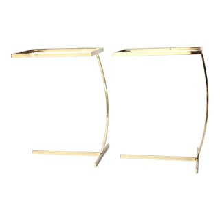 Mid-Century Milo Baughman Style Brass Side Tables - a Pair