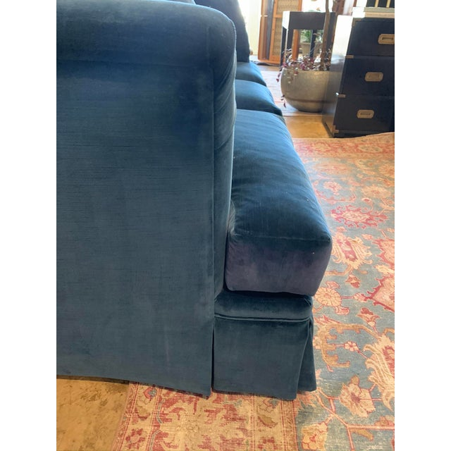 2010s Large Scale Blue Velvet Sofa For Sale - Image 5 of 6