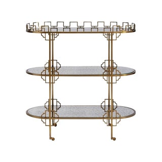 Hollywood Regency Brass Bar Cart With Antiqued Mirrored Glass Shelves For Sale