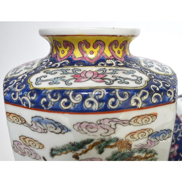 Antique Chinese Late Qing Dynasty Famille Rose Vase Pair For Sale - Image 4 of 7