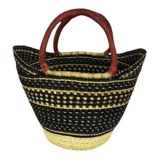Bolga Ghana Orange Woven Basket For Sale