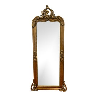 Antique Tall Carved Giltwood Floor Mirror For Sale