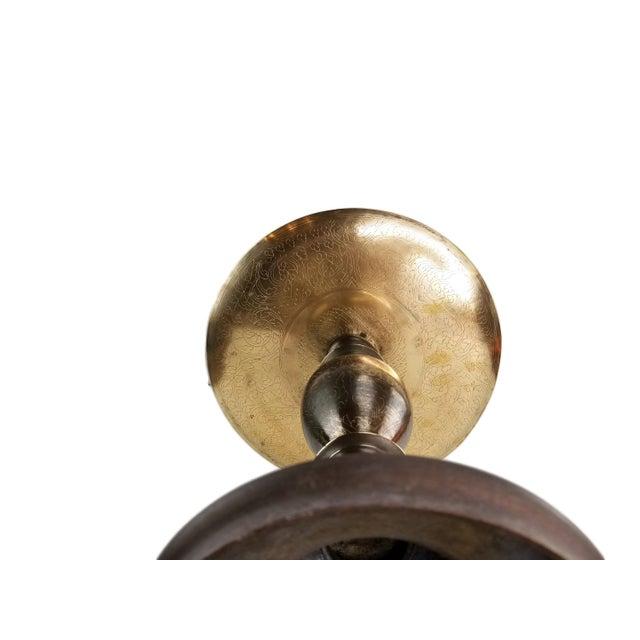 Gold Vintage Middle Eastern Brass Floor Candle Holder For Sale - Image 8 of 11