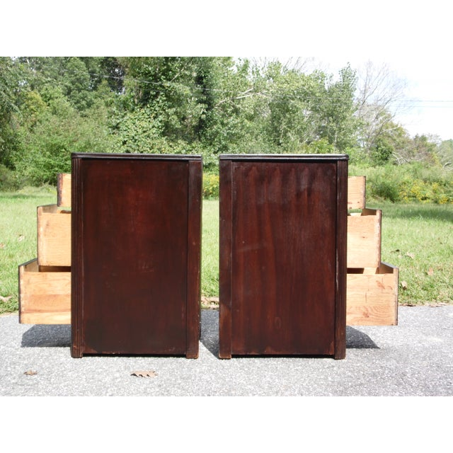 Brown Antique Pair Art Deco Walnut Nightstands End Tables Bedroom Stands For Sale - Image 8 of 13