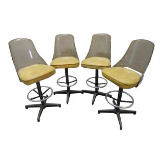 20th Century Lucite Swivel Bar Stool Chairs - Set of 4 For Sale