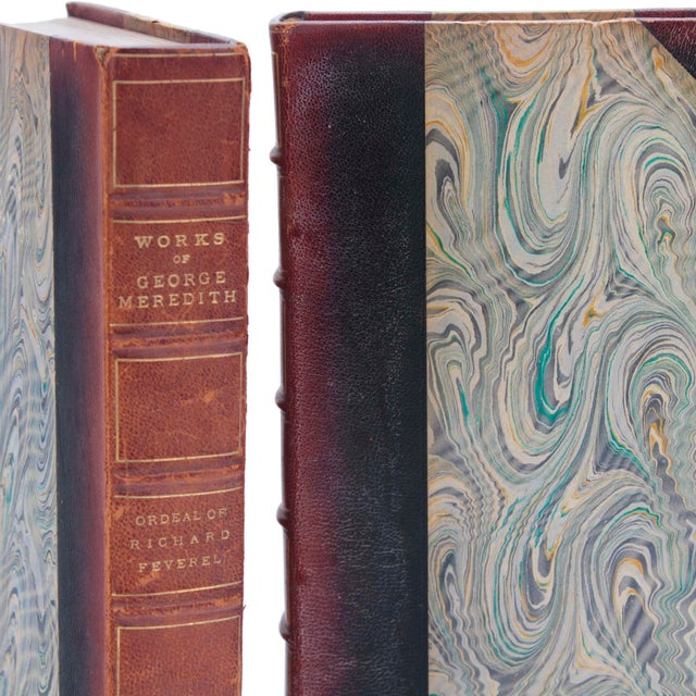 """Set of 20 chestnut colored leather books, """"Works of George Meredith"""" published in 1912 in New York by Charles Scribner's..."""