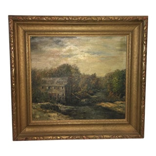 Vintage Framed Farm House Painting For Sale