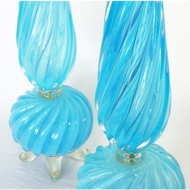 Barovier & Toso Blue and Gold Italian Murano Glass Mid-Century Modern Table Lamps Venetian Italy- a Pair Millennial For Sale - Image 5 of 11