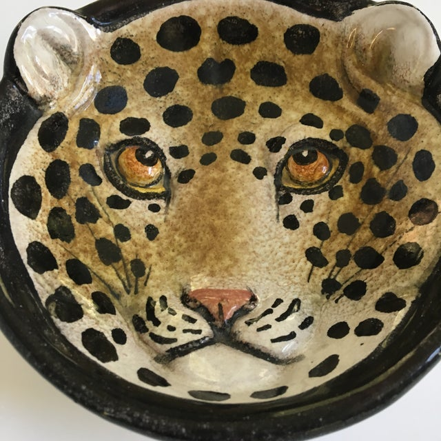 Hollywood Regency Italian Mid-Century Modern Leopard Pottery Bowl/Catchall For Sale - Image 3 of 10