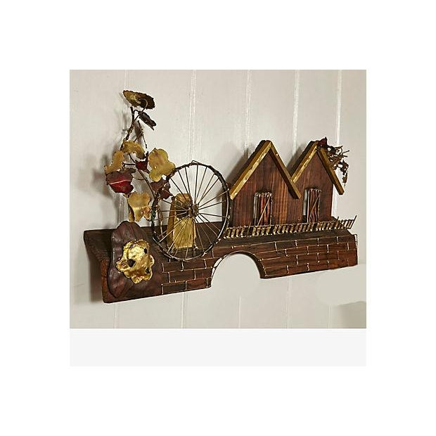 Metal Waterwheel & House Wall Sculpture For Sale - Image 4 of 6