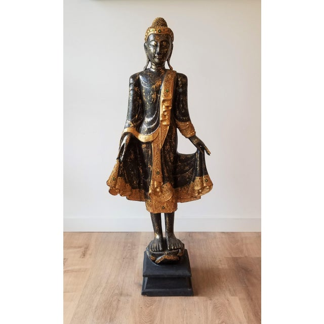 Mid 20th Century Hand Painted Carved Wood Standing Buddha For Sale - Image 13 of 13