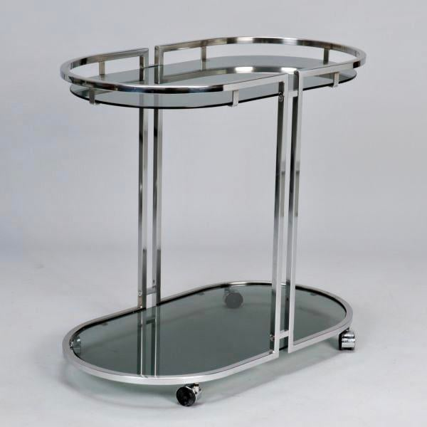 French Mid-Century Chrome and Glass Bar Trolley - Image 2 of 9