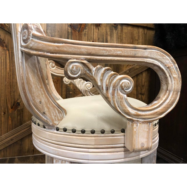 Mediterranean French Country Rustic Antique White Bar Stool For Sale - Image 3 of 9