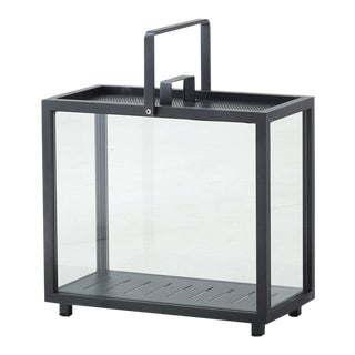 Cane-Line Lighthouse Rectangular Lantern, Lava Gray For Sale