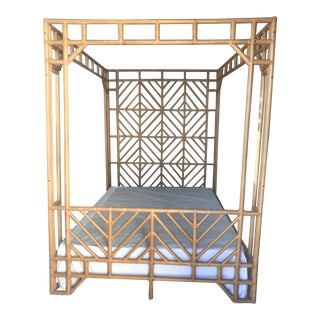 Chippendale/Chinoiserie Bamboo Rattan Queen Size Canopy Bed