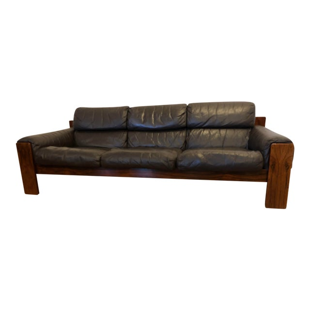 Rosewood and Brown Leather Mid Century Sofa by Uu-Vee Kaluste Oy of Finland