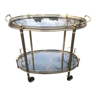 1950s Italian Mid Century Brass Oval Bar Cart With Removable Gallery Tray Top and Bottle Rack For Sale