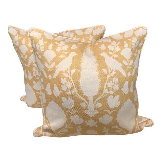 Schumacher Chenonceau Linen Pillows - A Pair For Sale