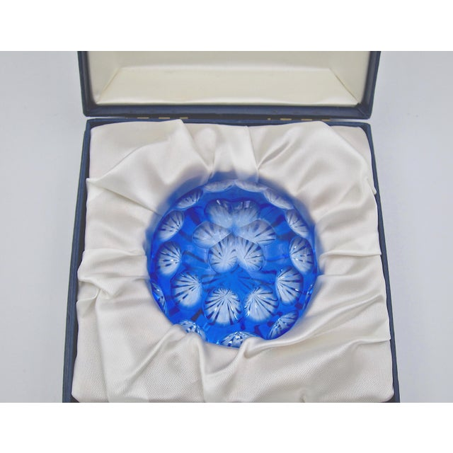 Vintage Blue Crystal Paperweight by Webb Corbett of England For Sale In Los Angeles - Image 6 of 12