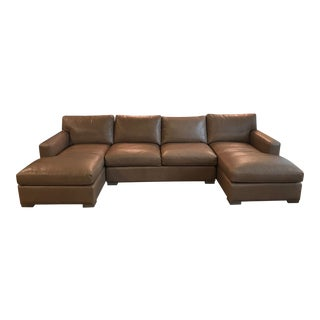 Crate & Barrel U-Shaped Leather Sofa For Sale