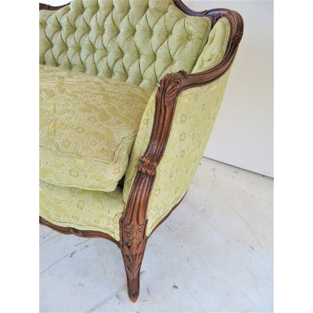 Louis XV Style Light Green Tufted Settee For Sale - Image 5 of 8