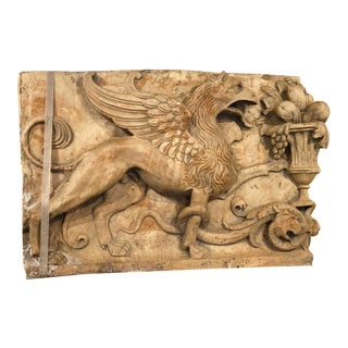 19th Century Gothic Early Plaster Relief With Griffin For Sale