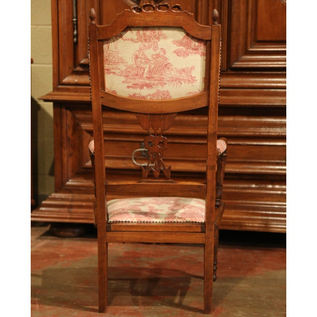 19th Century French Louis XVI Carved Walnut Chauffeuse Chair With Vintage Fabric For Sale - Image 9 of 10