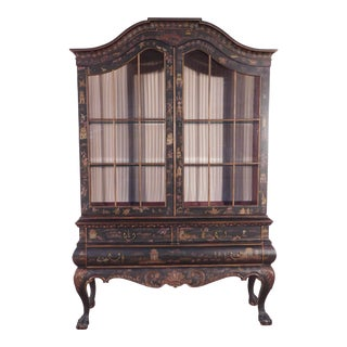 Drexel Heritage Chinoiserie 2 Piece Breakfront China Cabinet For Sale