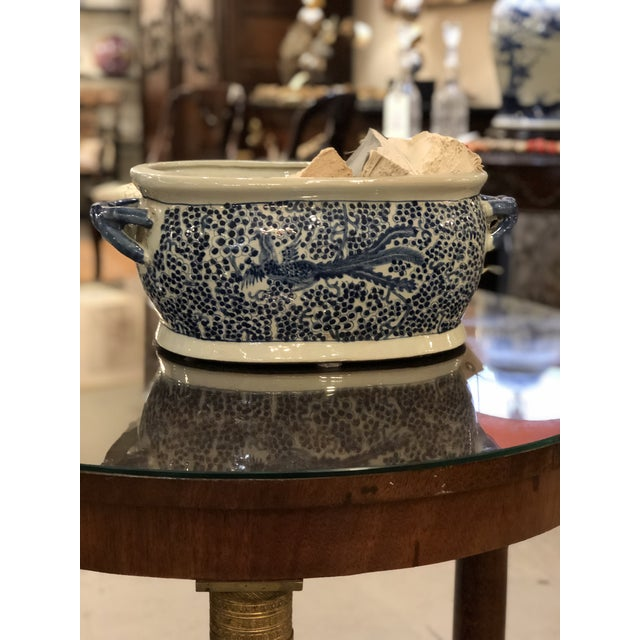 Late 20th Century Chinese Oblong Blue & White Planter For Sale - Image 5 of 6
