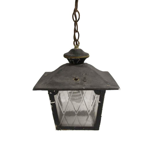 Arts & Crafts Black Metal & Glass Exterior Ceiling Lantern For Sale - Image 9 of 9