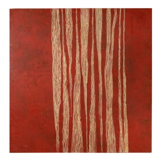 "Debra Ramsay ""Bamboo Variation with Red"" Modern Encaustic Painting For Sale"