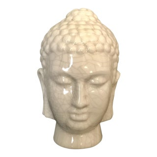 Cracked Finish Cream Ceramic Buddha Head For Sale