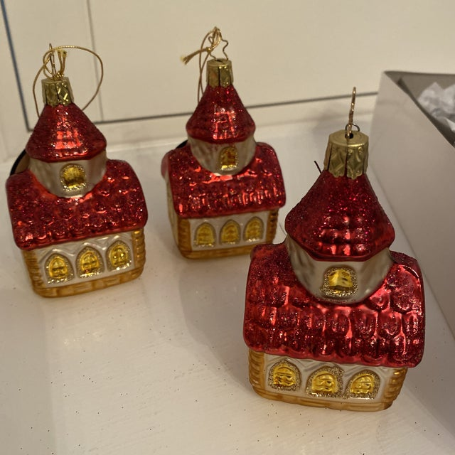 Inge Church and House Collection Glass Ornaments - Set of 6 For Sale - Image 10 of 11