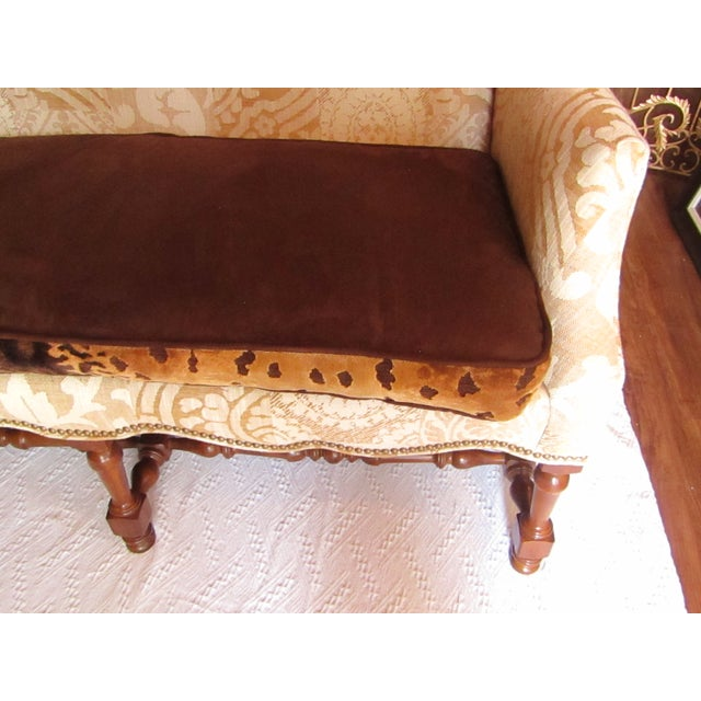 2010s Contemporary Southwood Damask and Chenille Leopard Print Settee with Pillows - 3 Pieces For Sale - Image 5 of 12