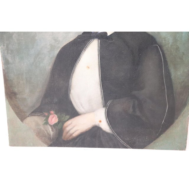 19th Century Italian Oil Painting on Canvas Portrait of a Young Girl For Sale - Image 4 of 7