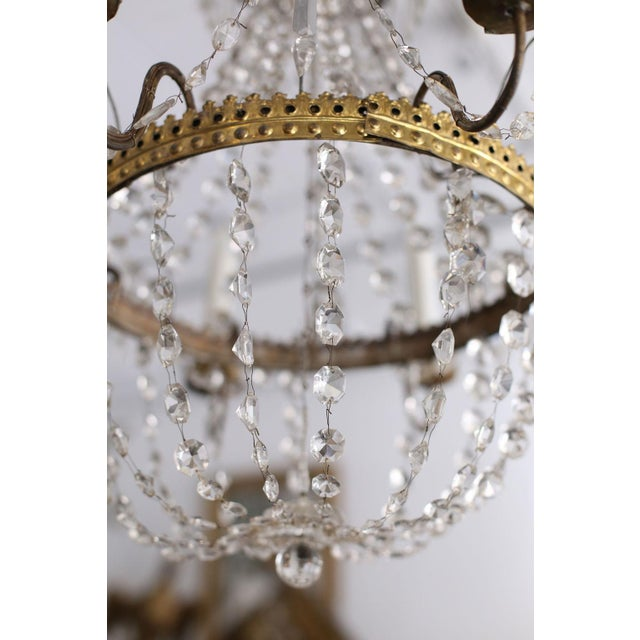 Crystal Neoclassical Italian Gilt Chandelier For Sale - Image 7 of 10