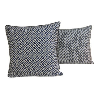 Pair of Blue and White Cotton Printed Decorative Pillows