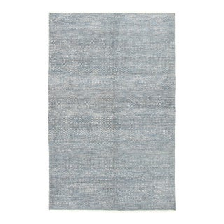"""Blue Gray Hand-Knotted Rug- 5'11"""" X 9'2"""" For Sale"""