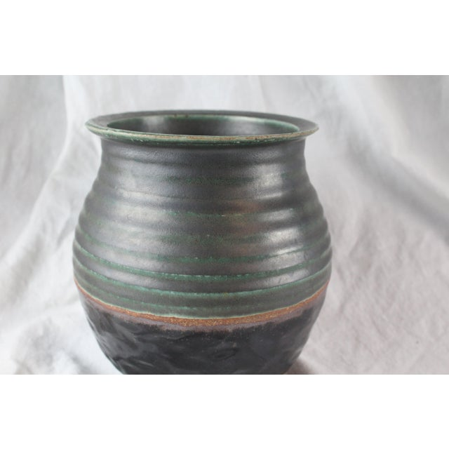 Contemporary Vintage Textured Ceramic Cachepot For Sale - Image 3 of 6