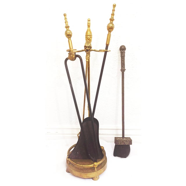 Brass and Iron Hand Made Fireplace Tool Set With Stand For Sale - Image 13 of 13